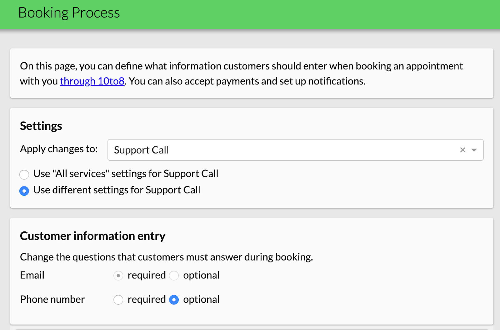 service specific booking questions