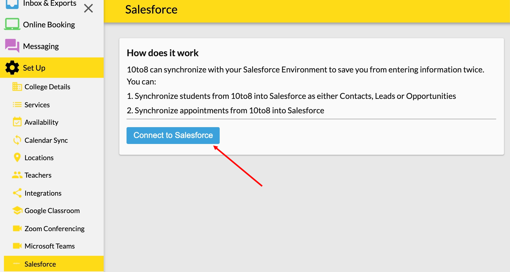 Initial syncing of Salesforce and 10to8