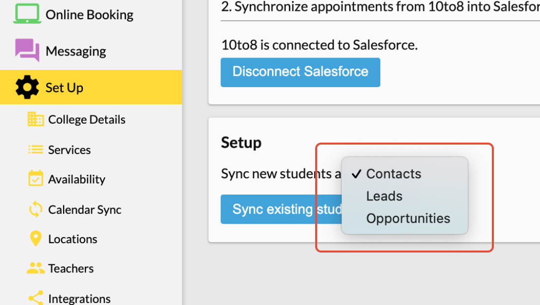 Salesforce setup- syncing clients