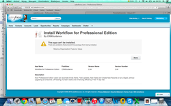 Installation Error Message: Workflow for Professional Edition