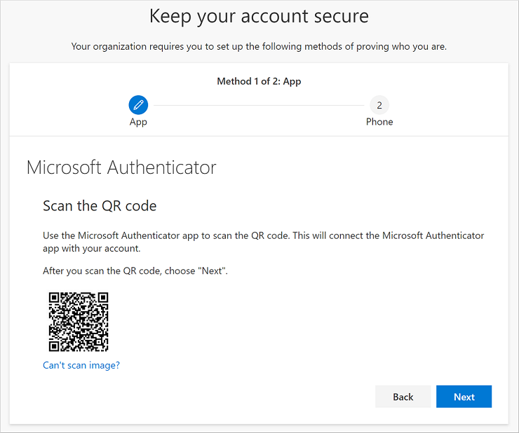 Scan the QR code using the Authenticator app
