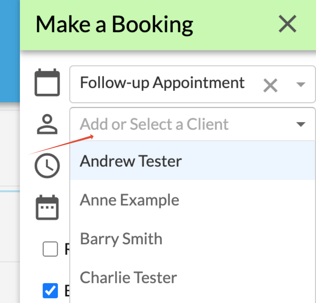 Adding a client to booking at time of booking