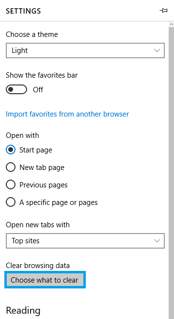 Entering the clearing cache menu from the settings section in Microsoft Edge