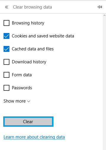 Clearing the cache in Microsoft Edge