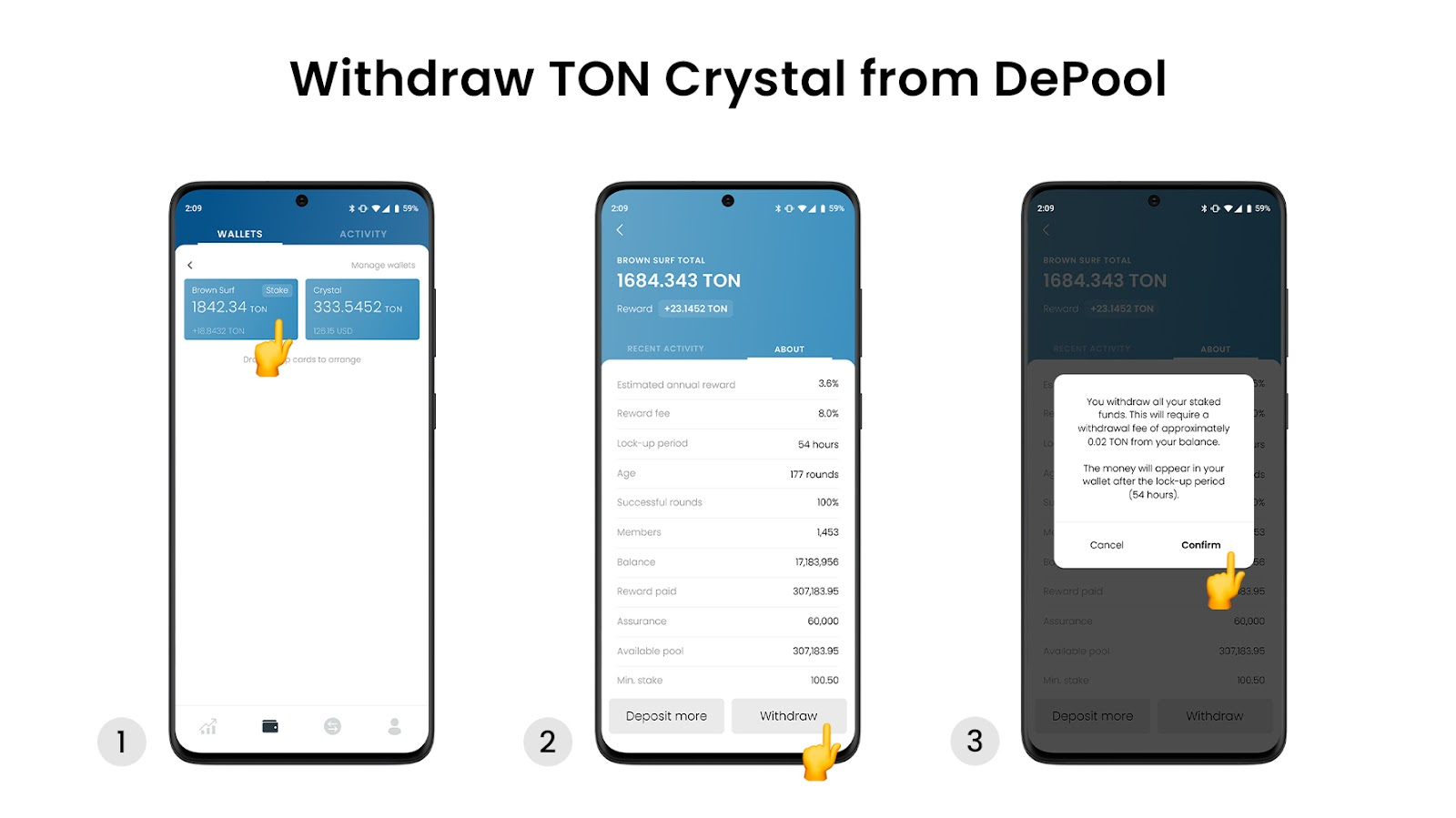 How to stake TON Crystal in LUMI Wallet?