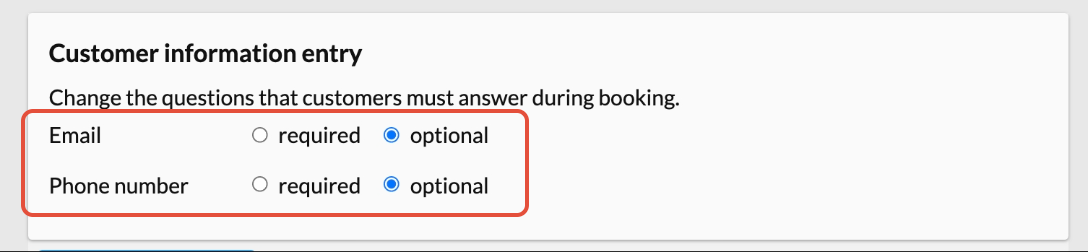 customer information entry