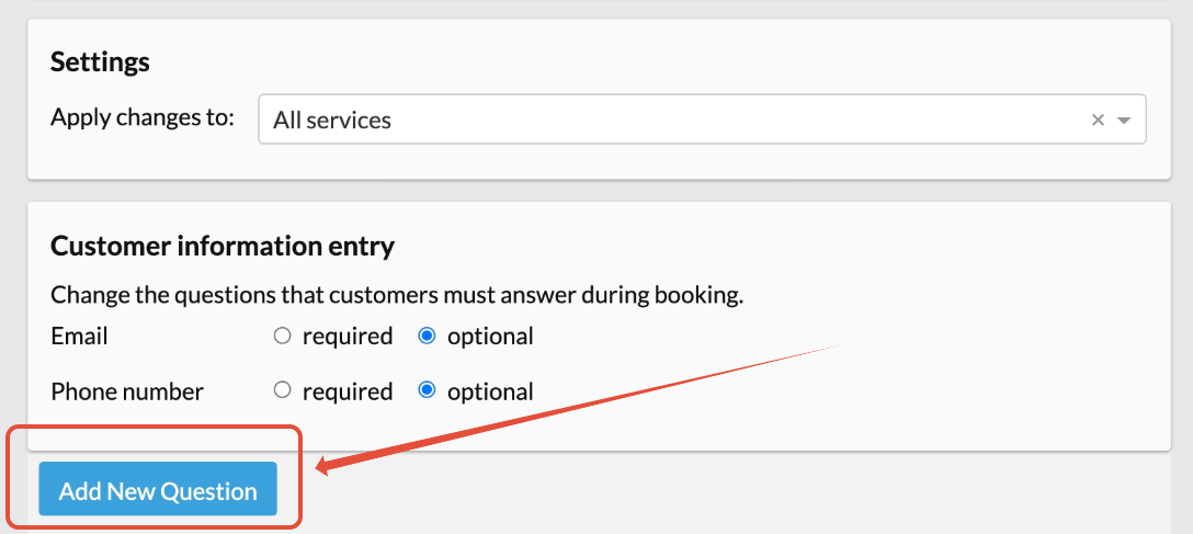 add booking question