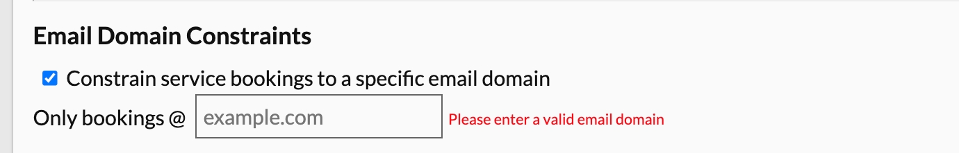 email domain constraints