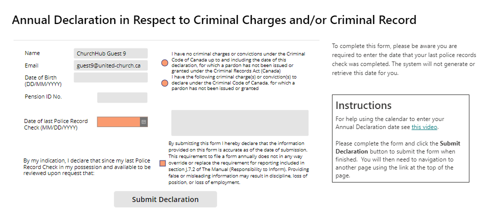 Screenshot of Criminal Charges fill in screen