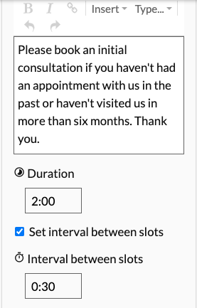 A screenshot displaying where to find the tick box to allow intervals between appointments.