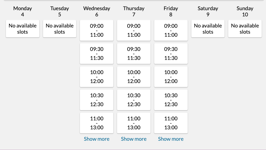 A screenshot demonstrating a list of appointments available to the customer now that intervals have been added between bookings.