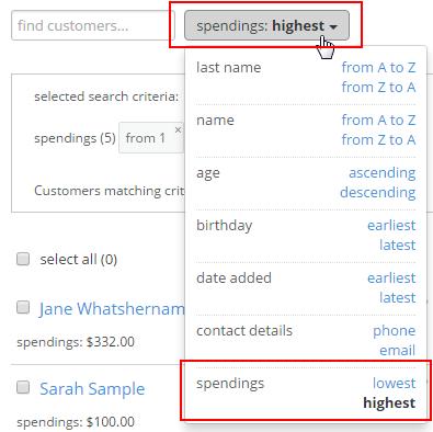 Sorting the customer database in Versum : Support