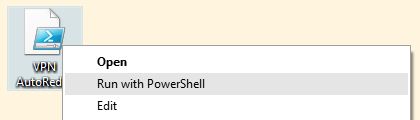 Right clicking on the script and select Run with PowerShell
