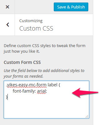 Form Customizer for Easy Forms for Mailchimp - YIKES