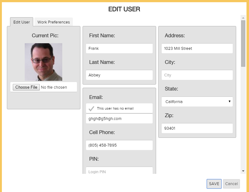 Edit User Form