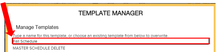 Template Manager - Schedule