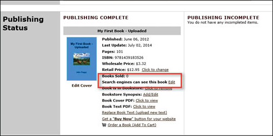 Hide Book From Search Engine - step 4