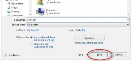 Convert Word 2010 to PDF - step 7