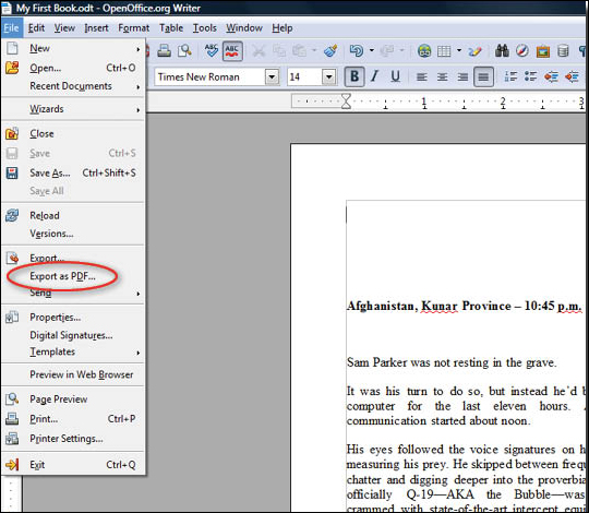Creating a PDF From OpenOffice.org Writer - step 2
