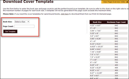 Using Download Cover Template Page - step 2