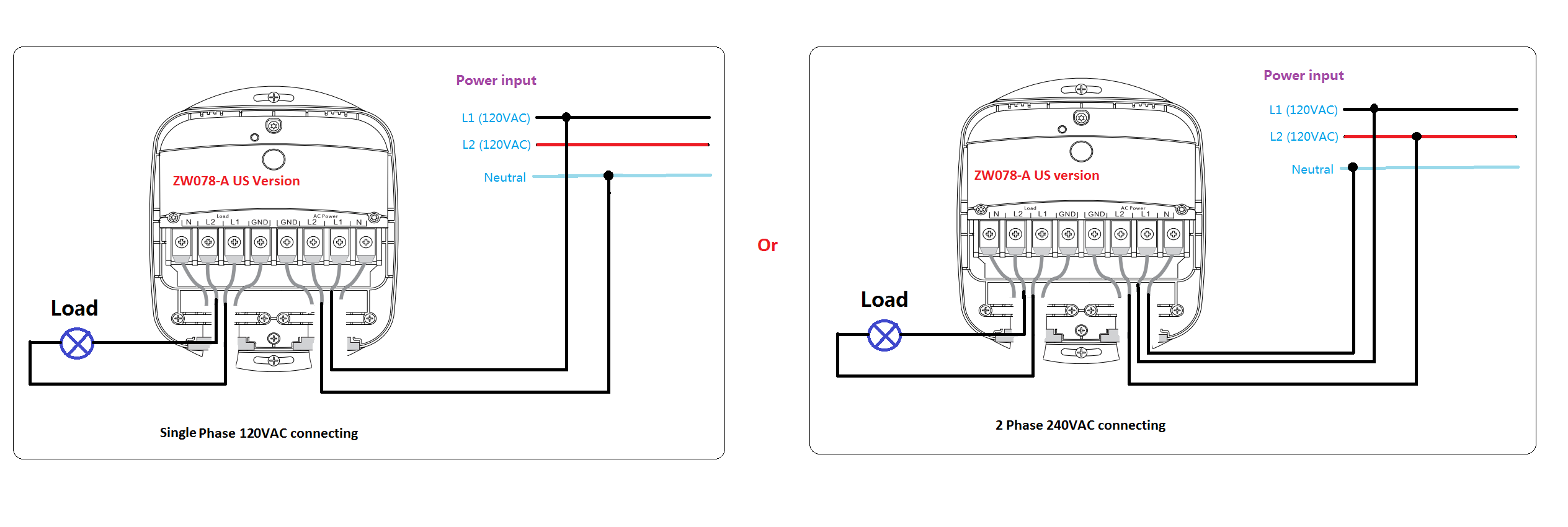 heavy duty smart switch gen5 wiring diagrams aeotec by aeon labs diagram 1 wiring hdss on a 1 phase 120vac connection diagram 2 wiring hdss on a 2 phase 240vac connection