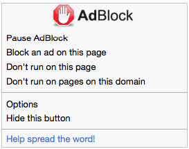 AdBlock menu in Safari (no content blocking)