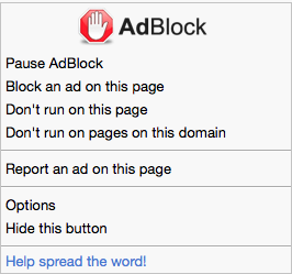 AdBlock menu in Safari (no content blocking, advanced mode)