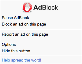 AdBlock menu in Safari (content blocking, advanced mode)