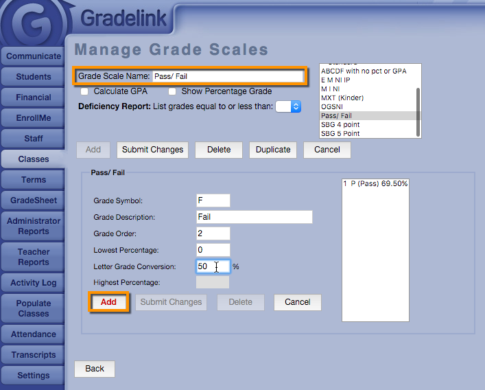 Creating a passfail grade scale gradelink support community related articles ccuart Choice Image