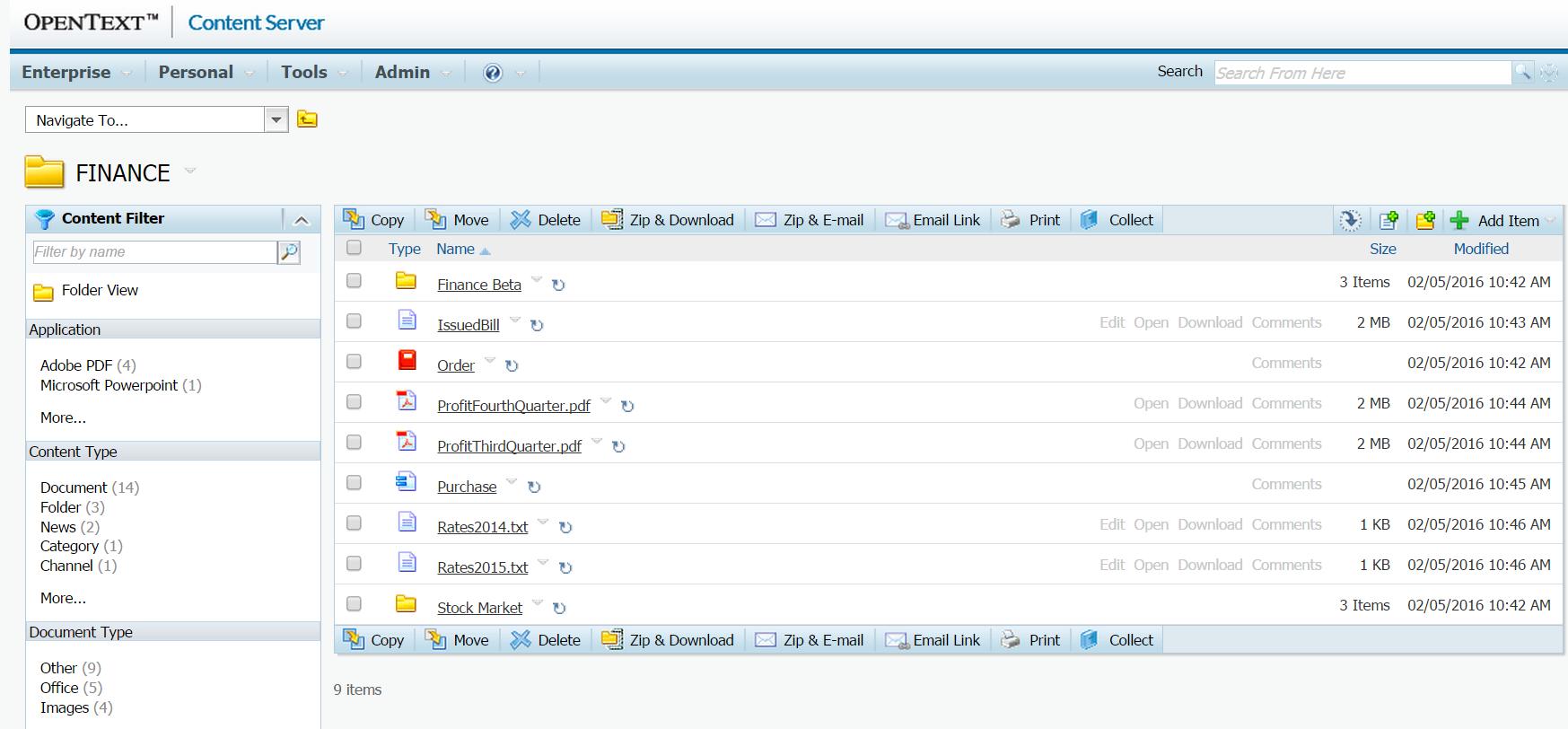 OpenText content server
