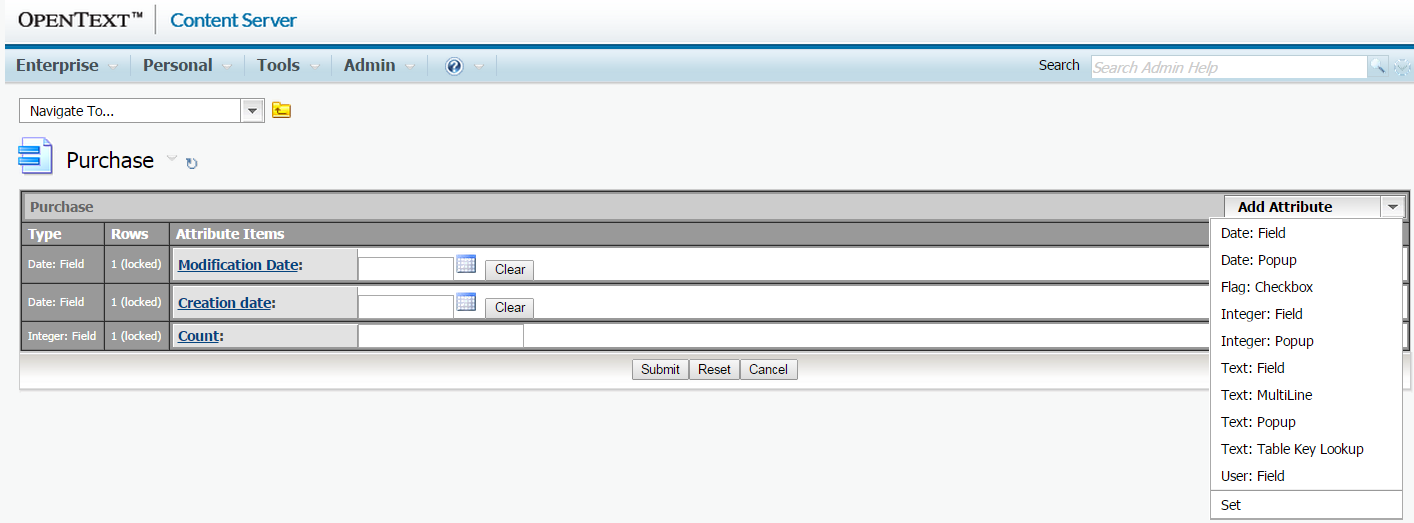 OpenText Content Server category with attributes