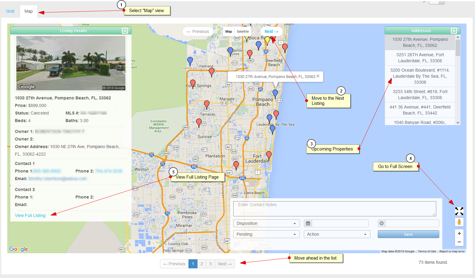 Using The Map View  Plus - Pompano beach map florida