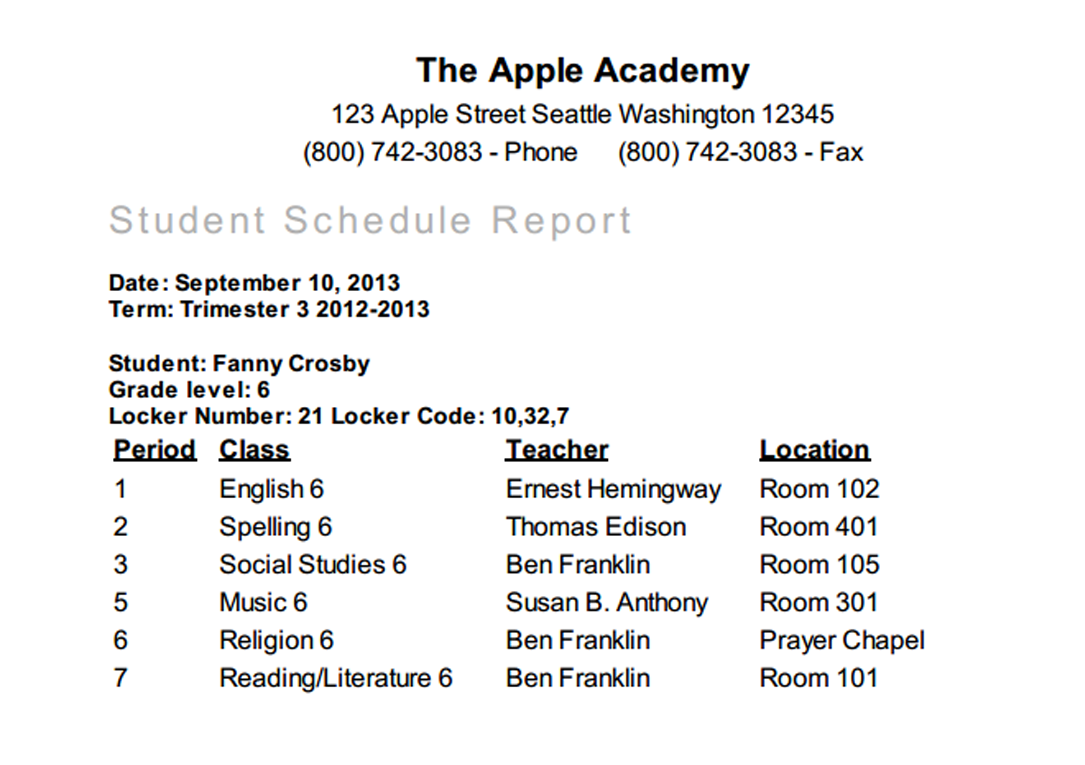 student schedule report overview gradelink support community