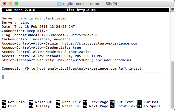 DU (Digital User): Triggering an HTTP Dump : Actual