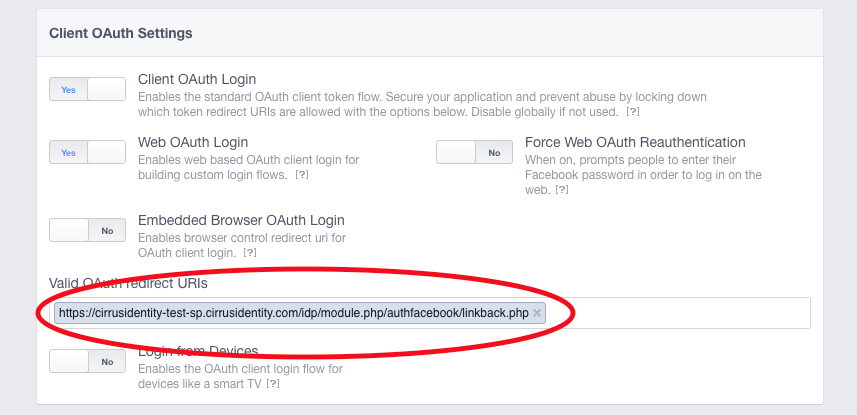 Adding Authorized Redirect URLs to social provider API settings