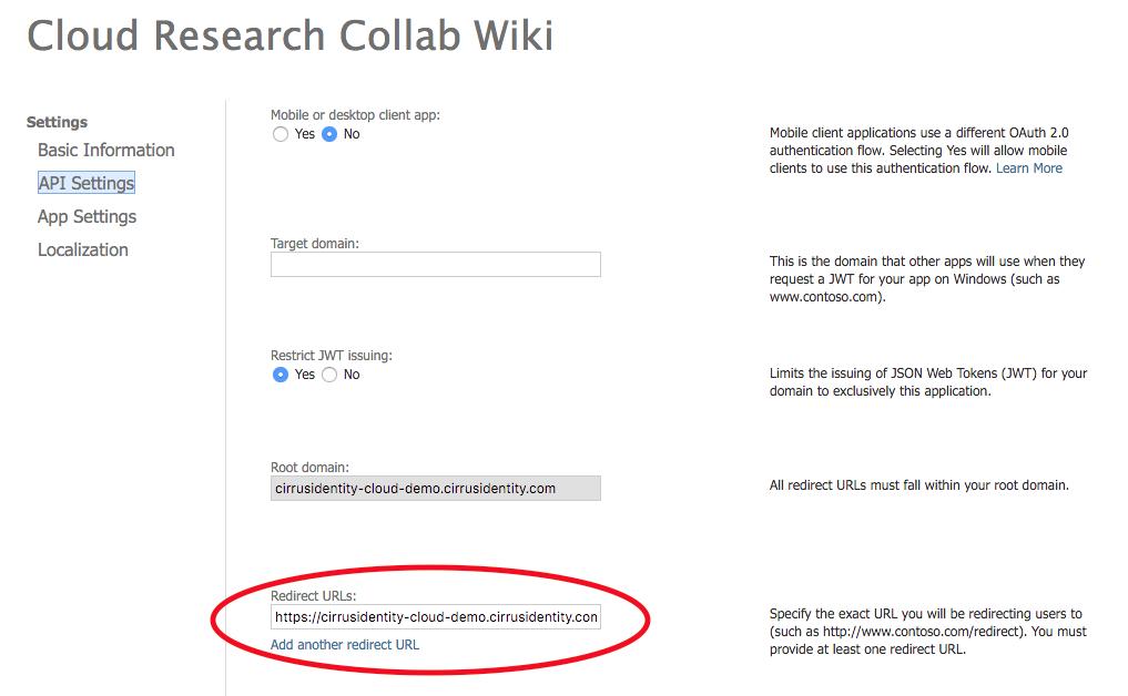 Adding Authorized Redirect URLs to social provider API settings