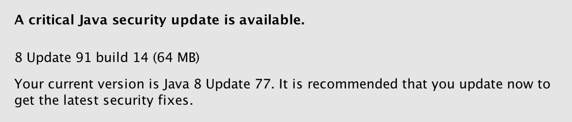 Java 8 Update 91