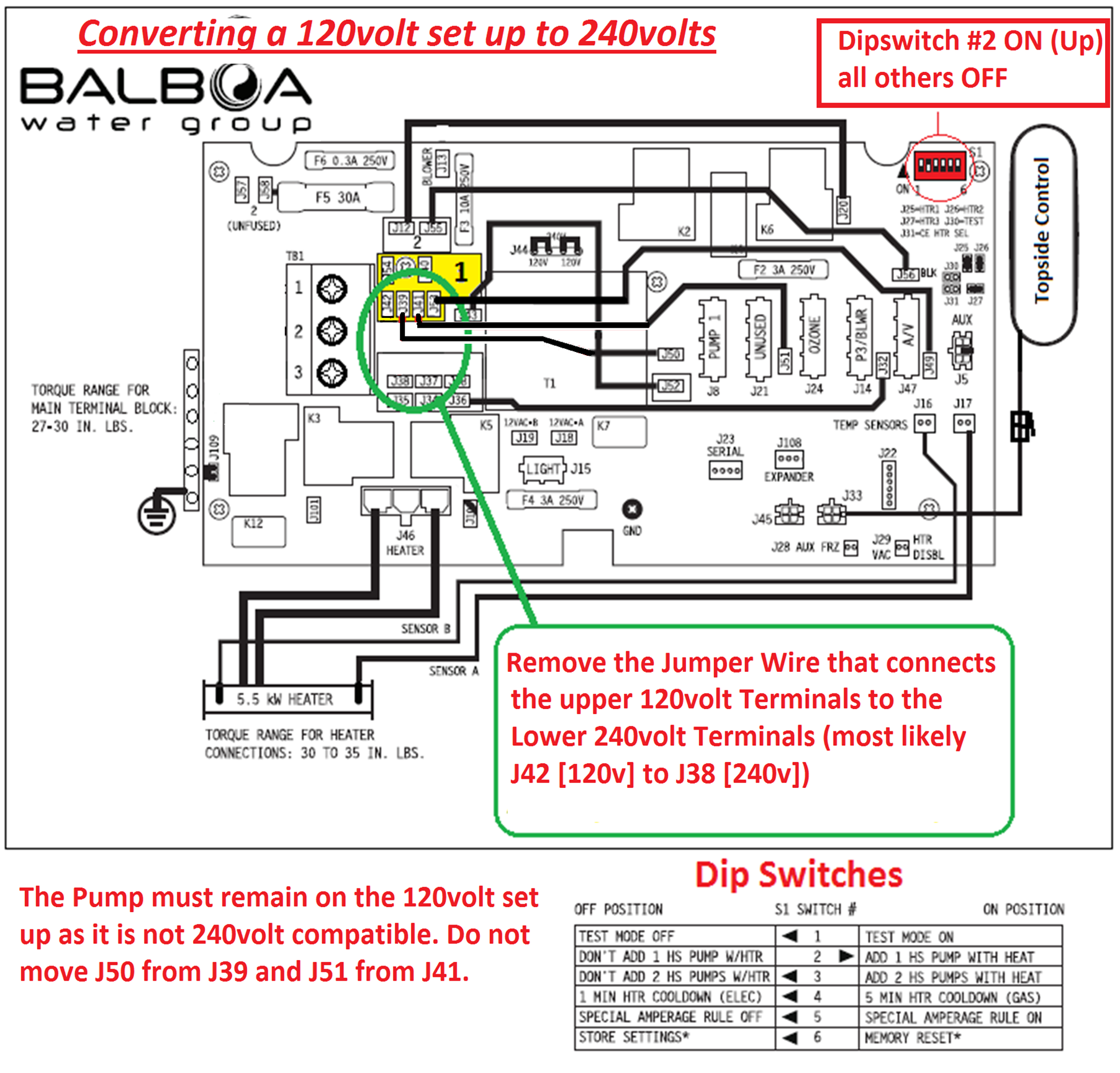 Electrical Installation - Converting a 120V Balboa BP to 240V