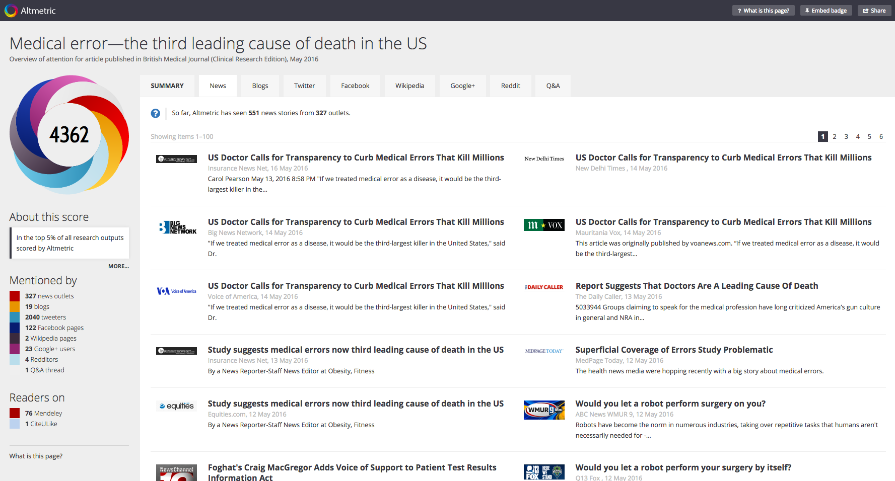 """The """"News"""" tab within the details page."""