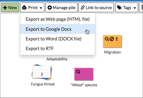 How to export and print notecards : NoodleTools Help Desk