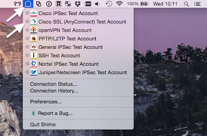 Shimo menu bar VPN accounts list