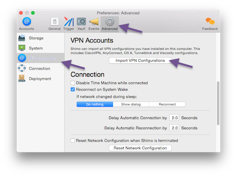 Import VPN configurations in the Advanced Preferences tab