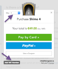 Purchase Shimo - quantity and payment method