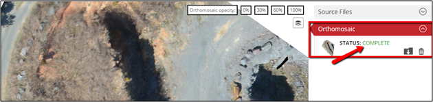 An image displaying an orthomosaic on datamapper website. Try reloading the page.