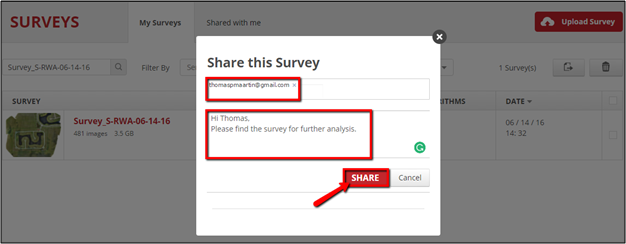 An image showing a Share Survey window