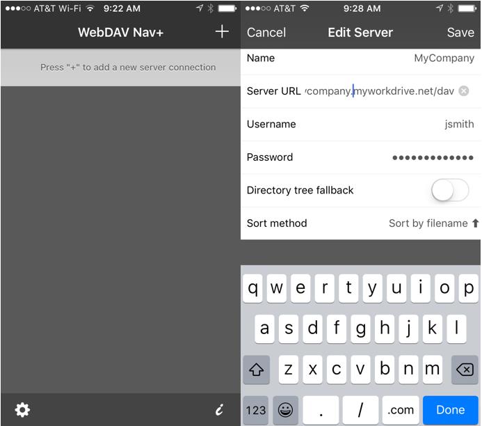 WebDAV Navigator Mobile Setup - MyWorkDrive
