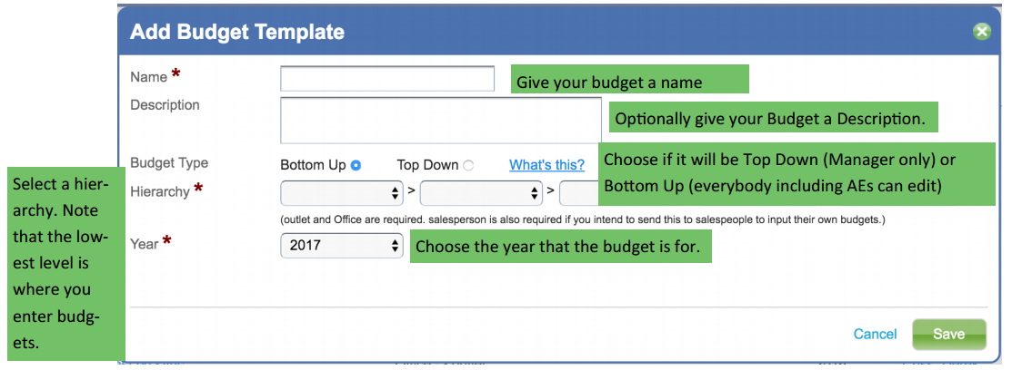 Creating A Budget Template Manager Access Matrix Support
