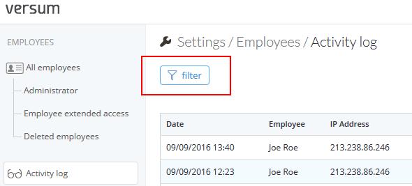 Employee activity log : Versum Support