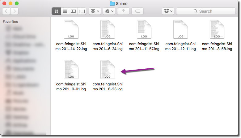 Shimo log file location