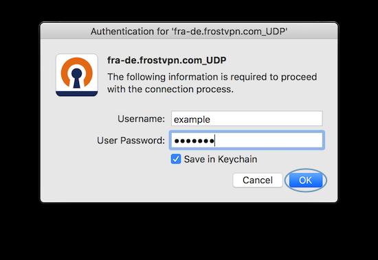 Autenticate FrostVPN login info